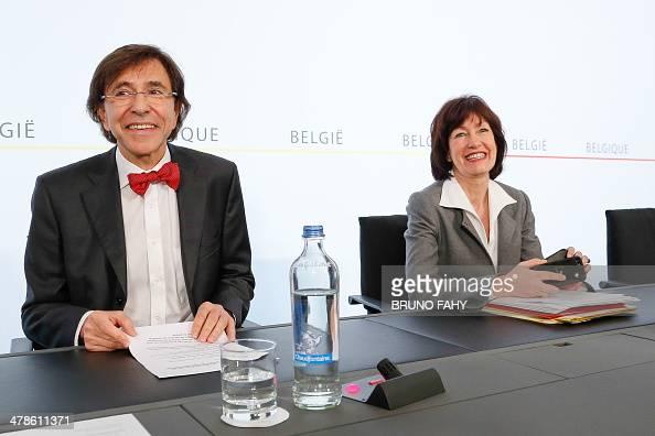 Belgian Prime Minister Elio Di Rupo and Deputy Prime Minister and Minister of Social Affairs and Public Health Laurette Onkelinx attend a press...