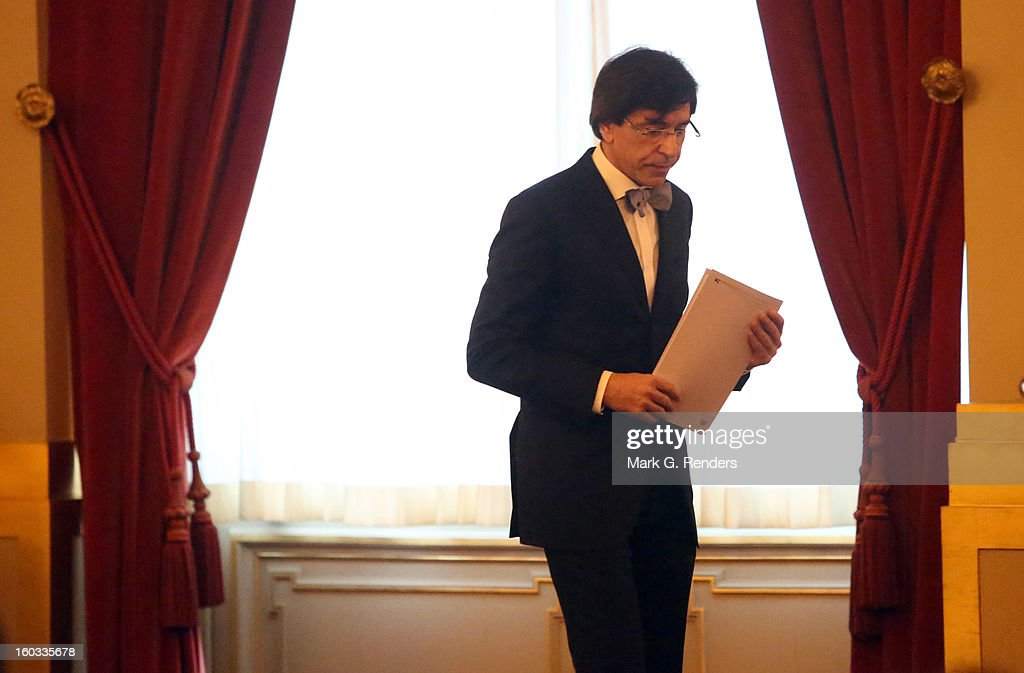 Belgian Prime Minister <a gi-track='captionPersonalityLinkClicked' href=/galleries/search?phrase=Elio+Di+Rupo&family=editorial&specificpeople=743705 ng-click='$event.stopPropagation()'>Elio Di Rupo</a> attends a New Year Reception for Coutry Officials at the Royal Palace on January 29, 2013 in Brussels, Belgium.