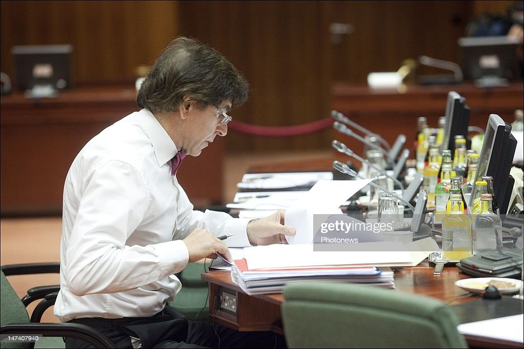Belgian Prime Minister <a gi-track='captionPersonalityLinkClicked' href=/galleries/search?phrase=Elio+Di+Rupo&family=editorial&specificpeople=743705 ng-click='$event.stopPropagation()'>Elio Di Rupo</a> attends the second day of the European Summit on June 29, 2012 in Brussels, Belgium. Leaders are meeting to discuss the Multiannual Financial Framework, the European Semester and the European growth agenda.