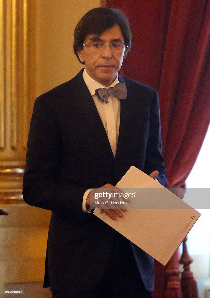 Belgian Prime Minister <a gi-track='captionPersonalityLinkClicked' href=/galleries/search?phrase=Elio+Di+Rupo&family=editorial&specificpeople=743705 ng-click='$event.stopPropagation()'>Elio Di Rupo</a> delivers a speech at a New Year Reception for Coutry Officials at the Royal Palace on January 29, 2013 in Brussels, Belgium.