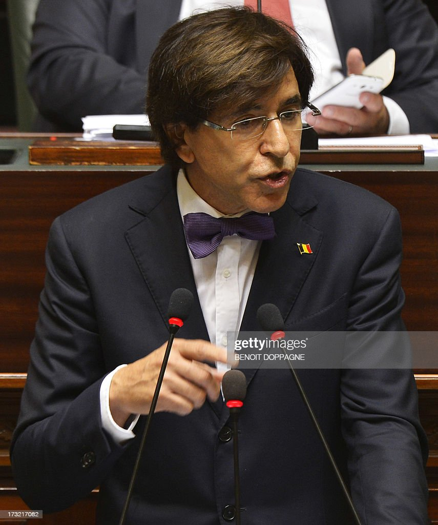 Belgian Prime Minister Elio Di Rupo delivers a speech at a plenary session of the Chamber at the Federal Parliament in Brussels, on July 10, 2013.