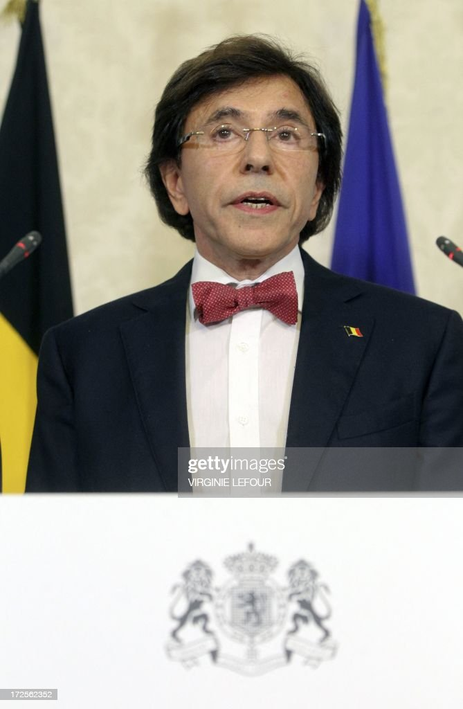 Belgian Prime Minister Elio Di Rupo gives a press conference after a Kern meeting, a restricted ministers meeting at the Prime Minister's office in Brussels, on July 3, 2013. Today King Albert II of Belgium announced to the Belgian people his abdiction from the throne on 21 July. LEFOUR