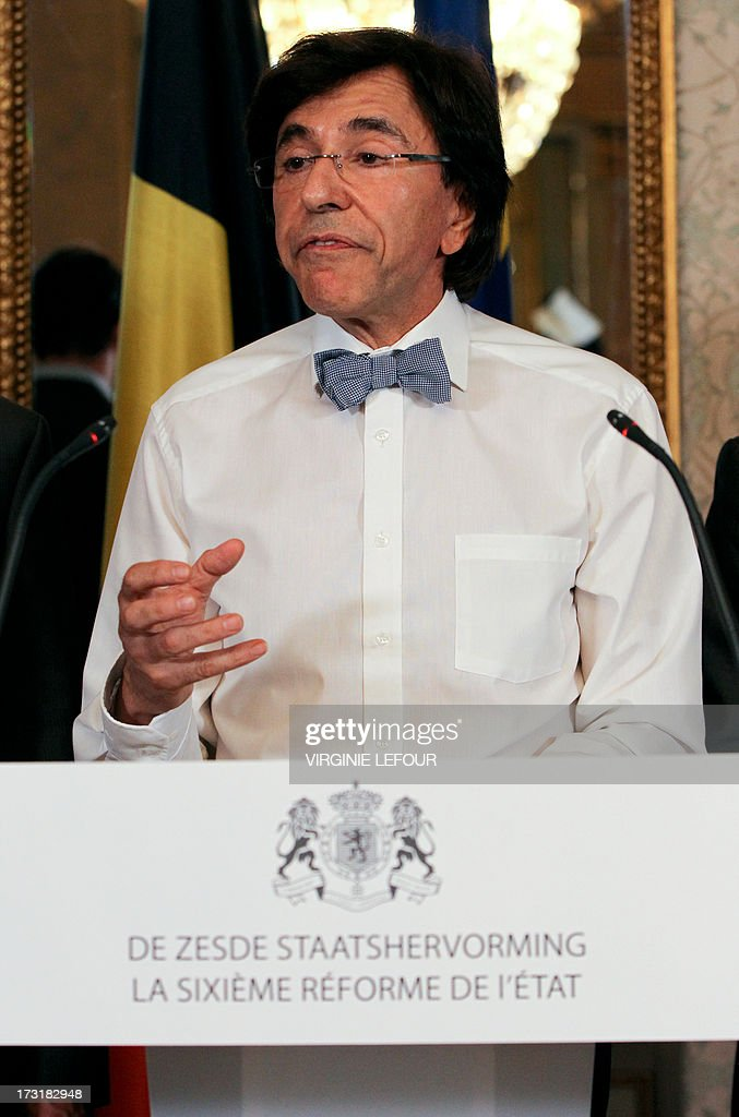 Belgian Prime minister Elio Di Rupo gives a press conference after the Comori committee of the 6th State Reform reached an agreement on July 9, 2013 in Brussels. The Comori committee consists of the Prime Minister, the two state secretaries in charge and representatives of the six parties of the majority and of the two Green parties.
