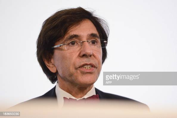 Belgian Prime minister Elio Di Rupo gives a press conference to announce an agreement on the budget after a inner cabinet meeting on October 8 2013...