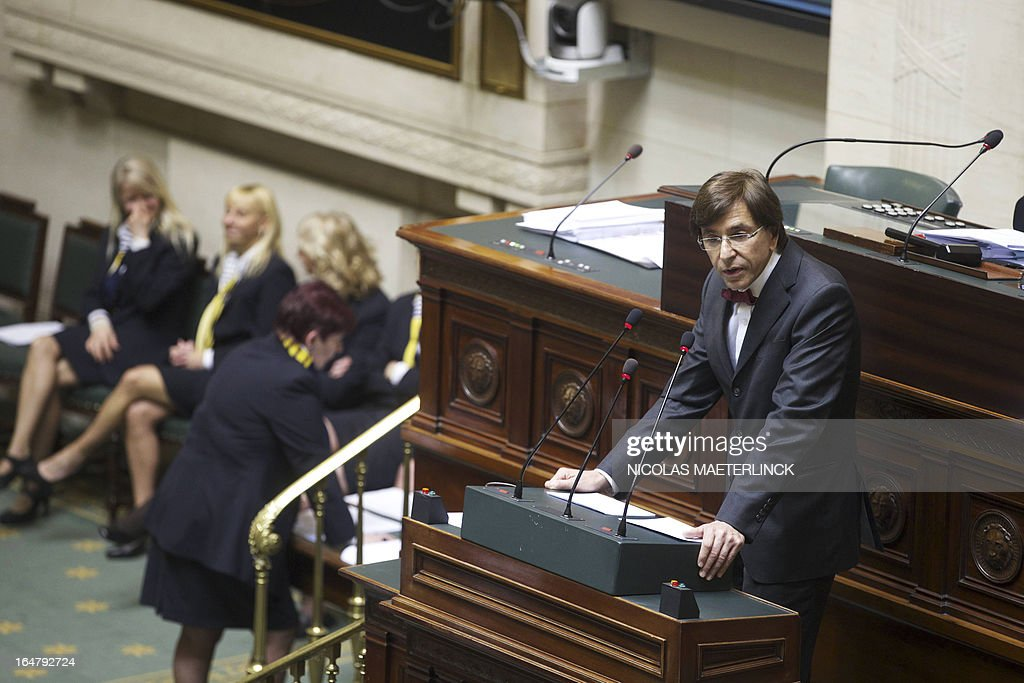 Belgian Prime Minister Elio Di Rupo gives a speech during a plenary session of the Chamber at the federal parliament in Brussels, on March 28, 2013.