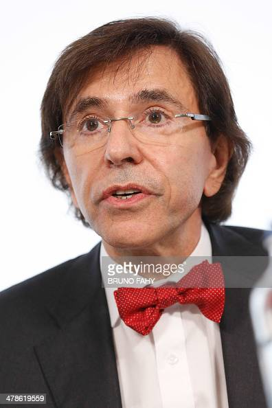 Belgian Prime Minister Elio Di Rupo speaks during a press conference after a ministers meeting at the Prime Minister's office in Brussels on March 14...