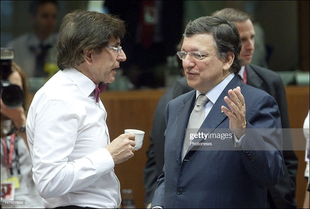 Belgian Prime Minister <a gi-track='captionPersonalityLinkClicked' href=/galleries/search?phrase=Elio+Di+Rupo&family=editorial&specificpeople=743705 ng-click='$event.stopPropagation()'>Elio Di Rupo</a> speaks with European Commission President <a gi-track='captionPersonalityLinkClicked' href=/galleries/search?phrase=Jose+Manuel+Barroso&family=editorial&specificpeople=551196 ng-click='$event.stopPropagation()'>Jose Manuel Barroso</a> on the second day of the European Summit on June 29, 2012 in Brussels, Belgium. Leaders are meeting to discuss the Multiannual Financial Framework, the European Semester and the European growth agenda.