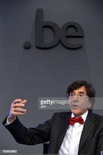 Belgian Prime Minister Elio Di Rupo talks on March 14 2013 during a press conference after a ministers' council meeting at 16 Law street in Brussels...