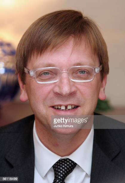 Belgian Prime Minister Guy Verhofstadt attends a dinner party with Japanese business leaders at the Belgian Embassy upon his arrival to Japan on...