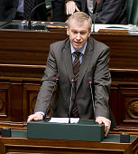 Belgian Prime Minister Yves Leterme of CDV speeches during the Belgian federal chamber plenary session Today is a crucial session as some Flemish...
