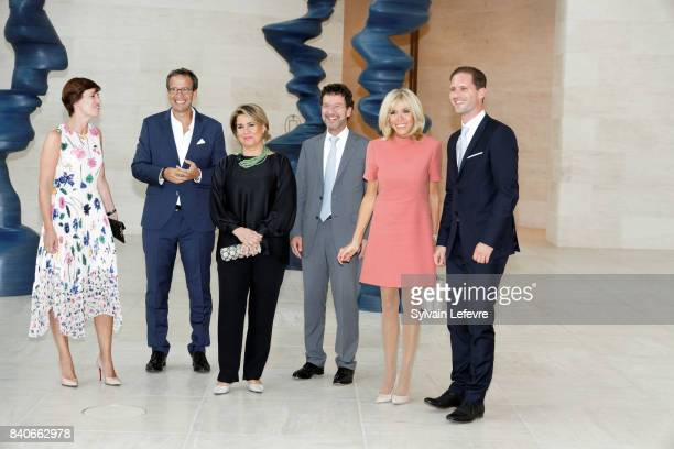 Belgian Prime Minister's partner Amelie Derbaudrenghien guest Grand Duchess Maria Teresa of Luxembourg guest Brigitte MacronTrogneux France's first...