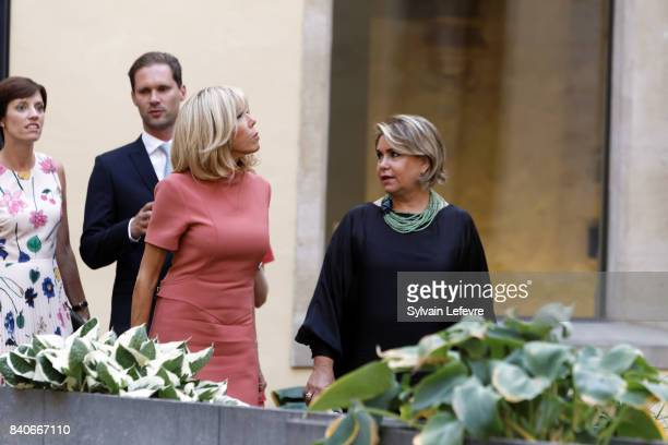 Belgian Prime Minister's partner Amelie Derbaudrenghien Luxembourg Prime Minister's husband Gauthier Destenay Brigitte MacronTrogneux France's first...