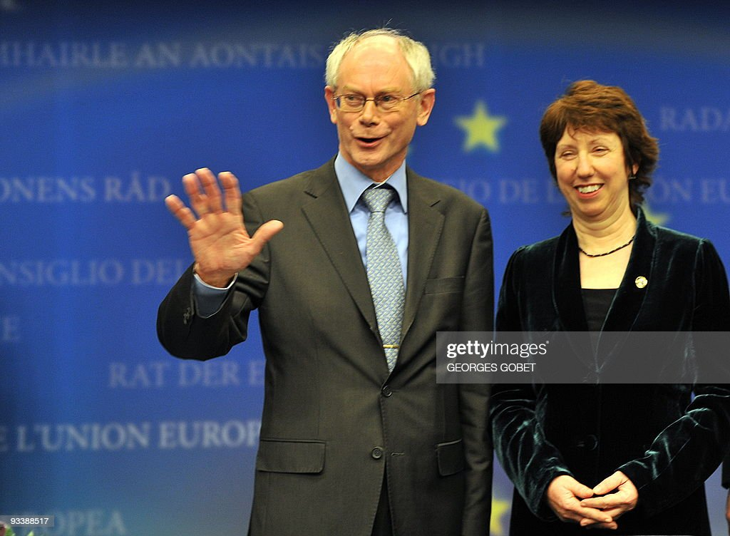 Belgian Prime Minsiter Herman Van Rompuy and EU Commissioner for trade British Catherine Ashton attend a presser at an European Union summit at the...