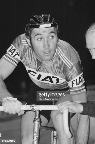 Belgian professional road and track bicycle racer Eddy Merckx during trainings 20th September 1977