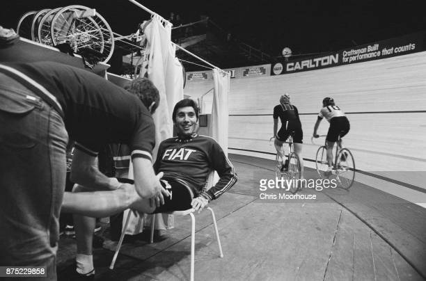 Belgian professional road and track bicycle racer Eddy Merckx during training 20th September 1977