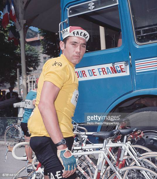 Belgian professional road race cyclist Eddy Merckx pictured after finishing in first place after the final time trial stage to win the 1969 Tour de...