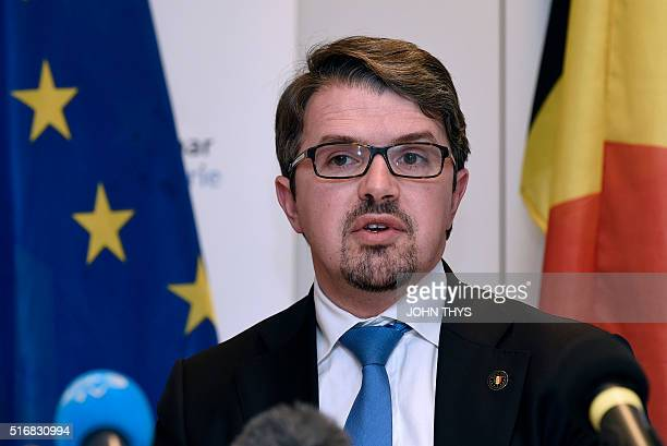 Belgian prosecutor Frederic Van Leeuw addresses a press conference with his French counterpart in Brussels on March 21 2016 Police have found the DNA...