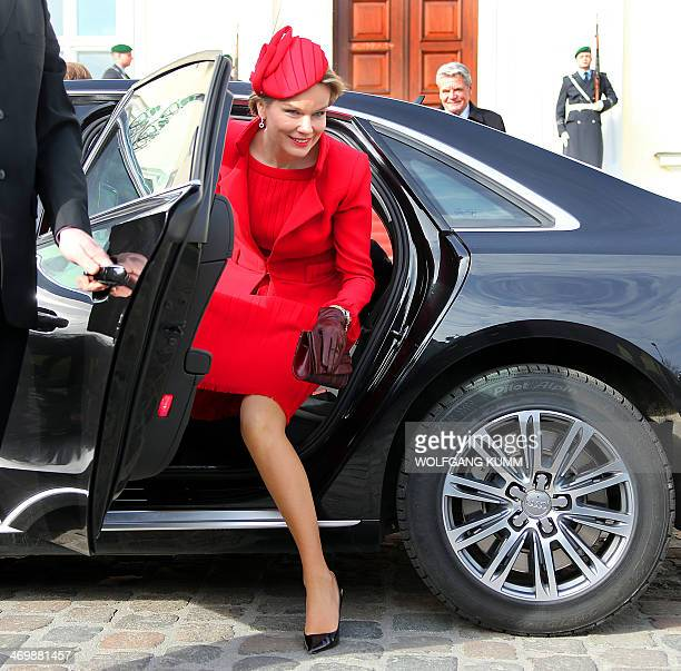 Belgian Queen Mathilde arrives at Bellevue Palace in Berlin Germany on February 17 2014 King Philippe visits Germany for the first time since his...
