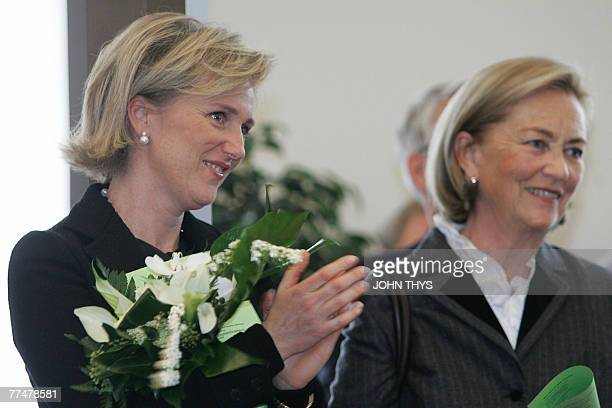 Belgian Queen Paola and her daughter Princess Astrid attend the official opening of a new exhibition on dinosaurs at the Natural Sciences Museum in...