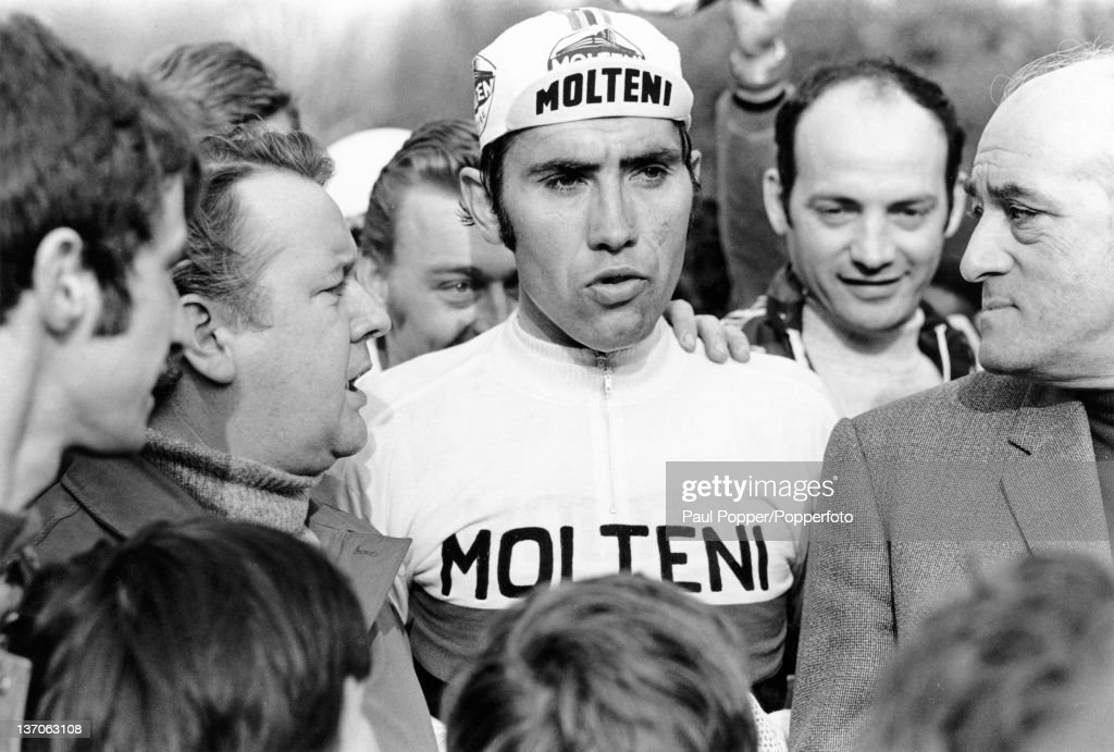 Belgian racing cyclist <a gi-track='captionPersonalityLinkClicked' href=/galleries/search?phrase=Eddy+Merckx&family=editorial&specificpeople=213957 ng-click='$event.stopPropagation()'>Eddy Merckx</a> (centre), after his victory in the Liege-Bastogne-Liege road race, Belgium, 20th April 1972.