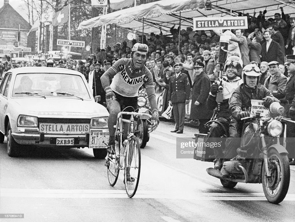 Belgian racing cyclist <a gi-track='captionPersonalityLinkClicked' href=/galleries/search?phrase=Eddy+Merckx&family=editorial&specificpeople=213957 ng-click='$event.stopPropagation()'>Eddy Merckx</a> arrives at the finish line to win the Gent–Wevelgem road race, Wevelgem, Belgium, 1st April 1970.