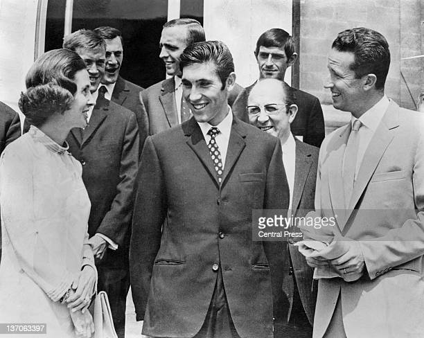 Belgian racing cyclist Eddy Merckx at the Royal Castle of Laeken Brussels with King Baudouin I and Queen Fabiola after Merckx won the Tour de France...