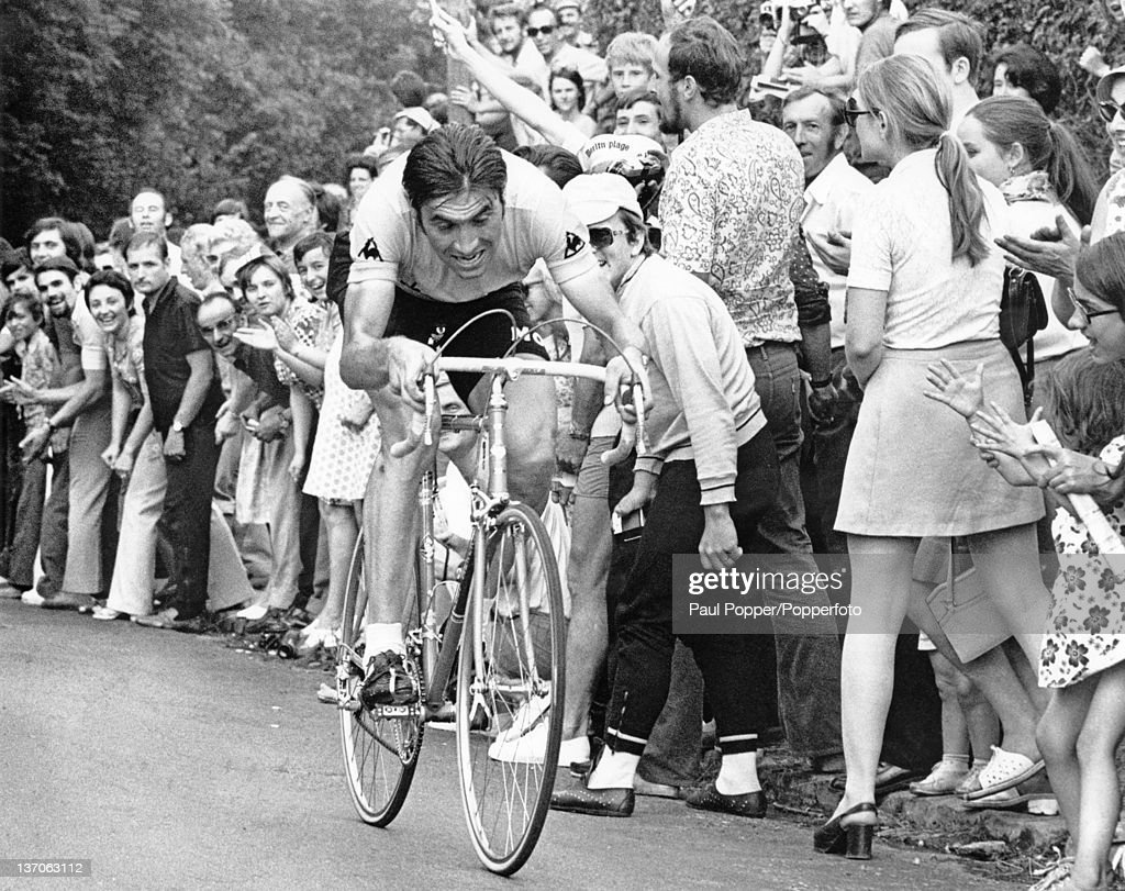 Belgian racing cyclist <a gi-track='captionPersonalityLinkClicked' href=/galleries/search?phrase=Eddy+Merckx&family=editorial&specificpeople=213957 ng-click='$event.stopPropagation()'>Eddy Merckx</a> competing in the Tour de France, Versailles, 23rd July 1972. Merckx went on to win the tour.