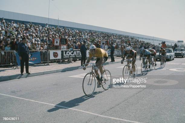 Belgian racing cyclist Eddy Merckx of the Molteni team pictured leading the riders at the end of the 20th stage of the 1971 Tour de France an...