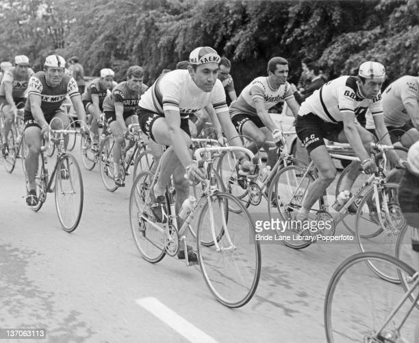 Belgian racing cyclist Eddy Merckx on his way to victory in the Giro d'Italia 21st May 1968
