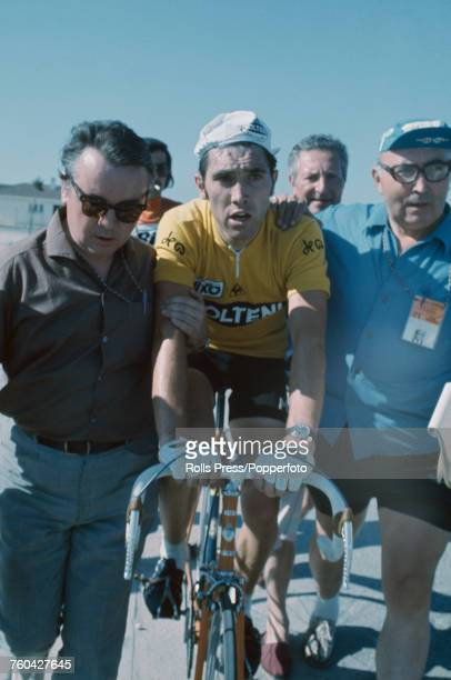 Belgian racing cyclist Eddy Merckx pictured wearing the Molteni team shirt at the end of the 20th stage of the 1971 Tour de France an individual time...