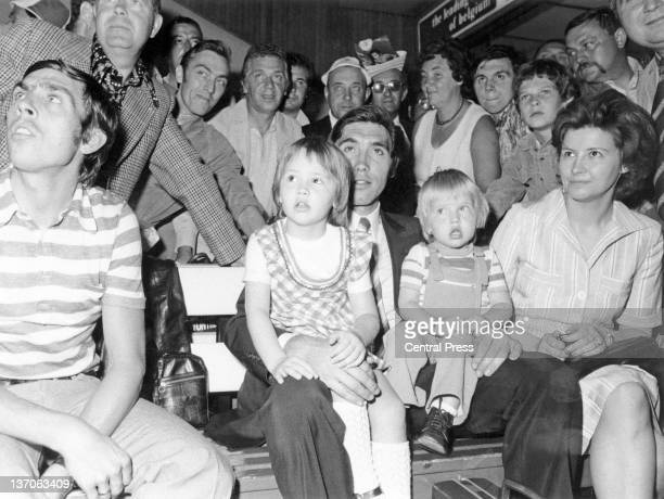 Belgian racing cyclist Eddy Merckx with his wife Claudine and their children Sabrina and Axel at Brussels Airport after Merckx arrived back in...