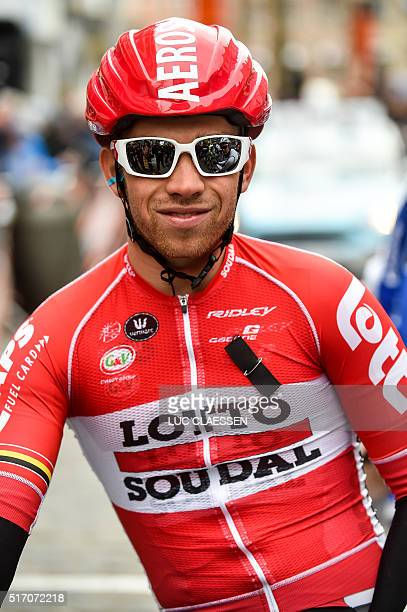 Belgian rider Sean De Bie of team LottoSoudal wears a black ribbon to commemorate the victims of yesterday's terrorist attacks in Brussels at the...
