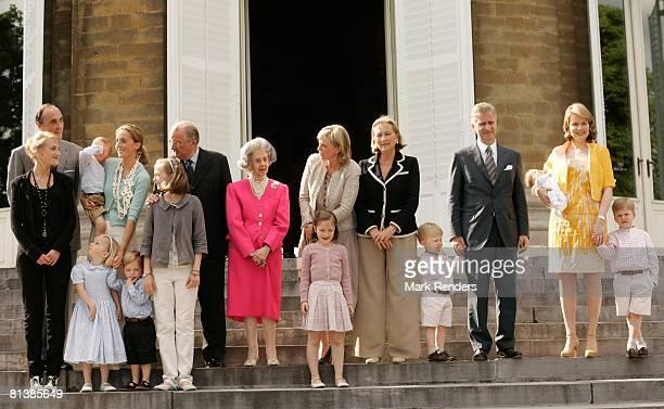 Belgian royals Prince Lorentz Princess Claire King Albert Queen Fabiola Princess Astrid Queen Paola Prince Gabriel Prince Philippe and Princess...