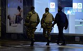 Belgian security forces patrol on the streets in Brussels Beigum on November 21 2015 after the level four was set for Brussels based on a serious and...
