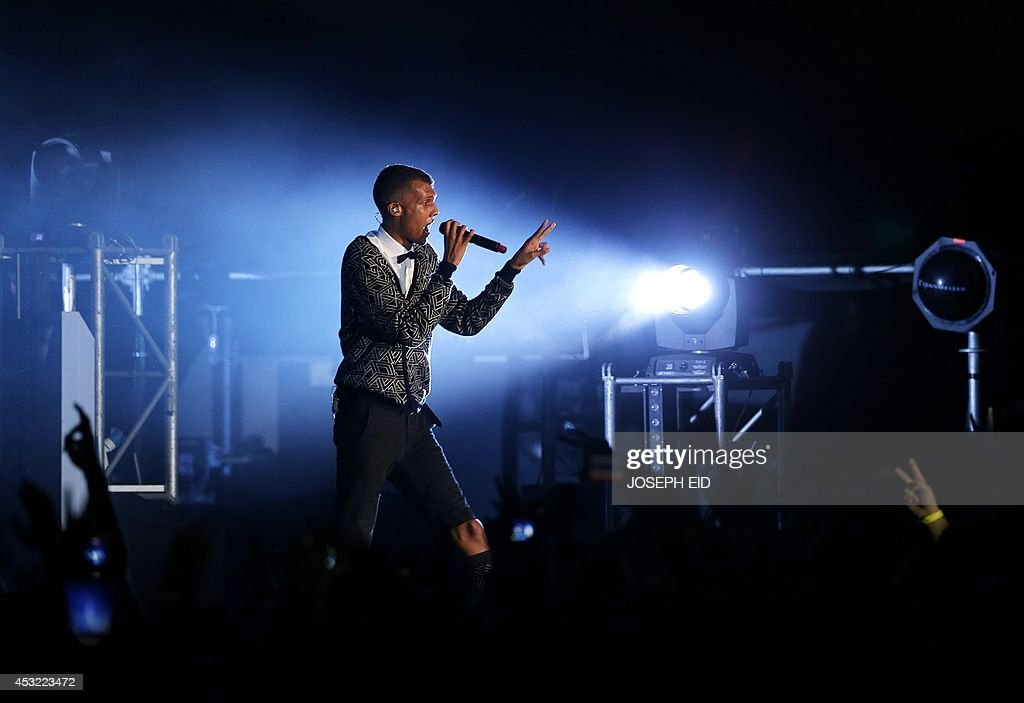 Belgian singer and songwriter Paul Van Haver, better known by his stage name Stromae, performs at the Byblos International Festival in the ancient Mediterranean port of the same name, north of the Lebanese capital Beirut, on August 5, 2014.
