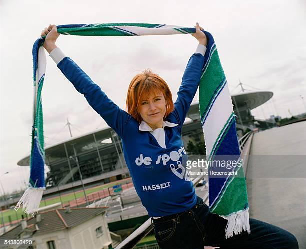 Belgian singer Axelle Red lends her support during the 1998 Soccer World Cup at Stade de France