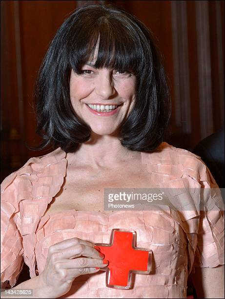 Belgian singer Lio during the presentation of the Red Cross campaign on April 25 2012 in Brussels Belgium