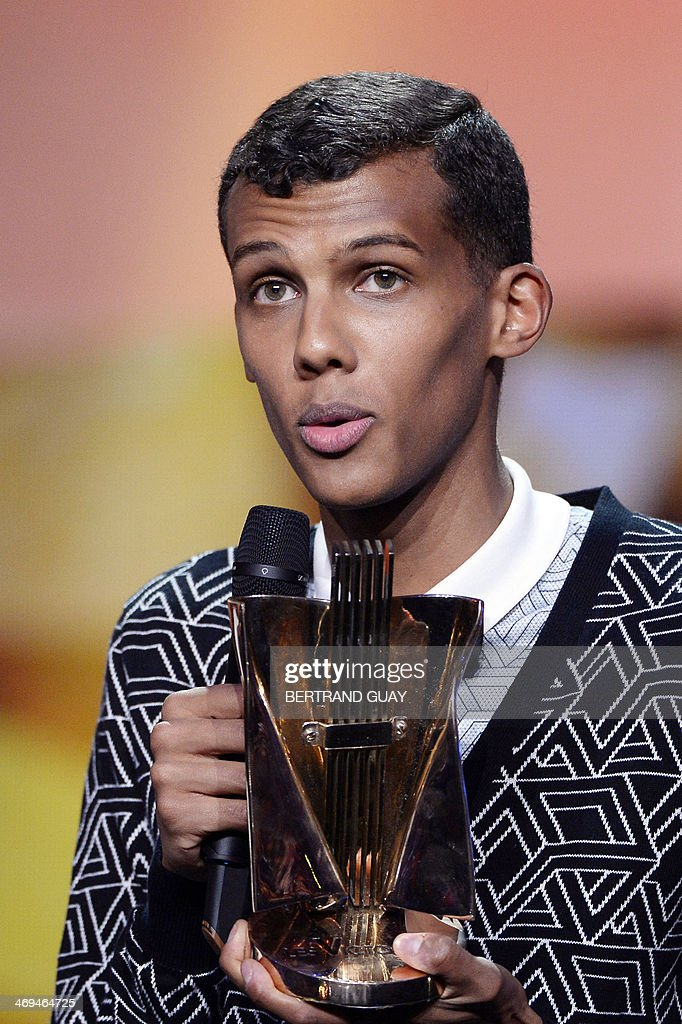 Belgian singer Paul Van Haver, aka Stromae, delivers a speech after receiving the best music video of the year award for his song 'Formidable' during the 29th Victoires de la Musique, the annual French music awards ceremony, on February 14, 2014 at the Zenith concert hall in Paris.