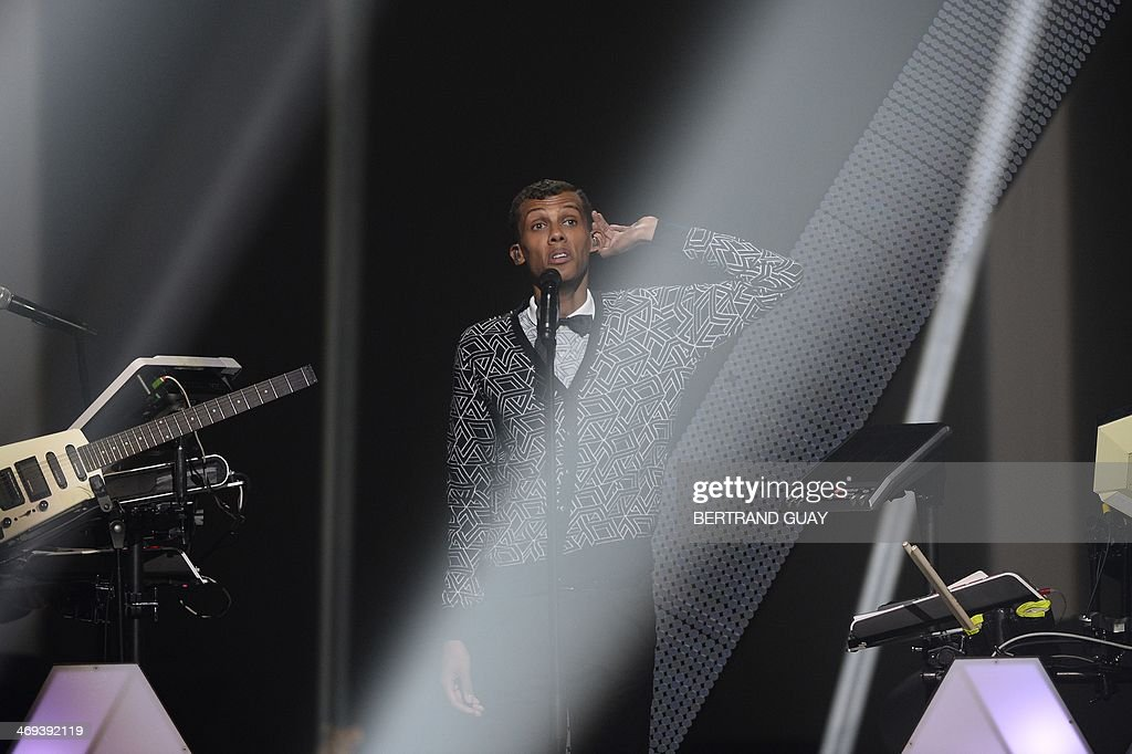 Belgian singer Paul Van Haver, aka Stromae, performs as the opening act during the 29th Victoires de la Musique, the annual French music awards ceremony, on February 14, 2014 at the Zenith concert hall in Paris.