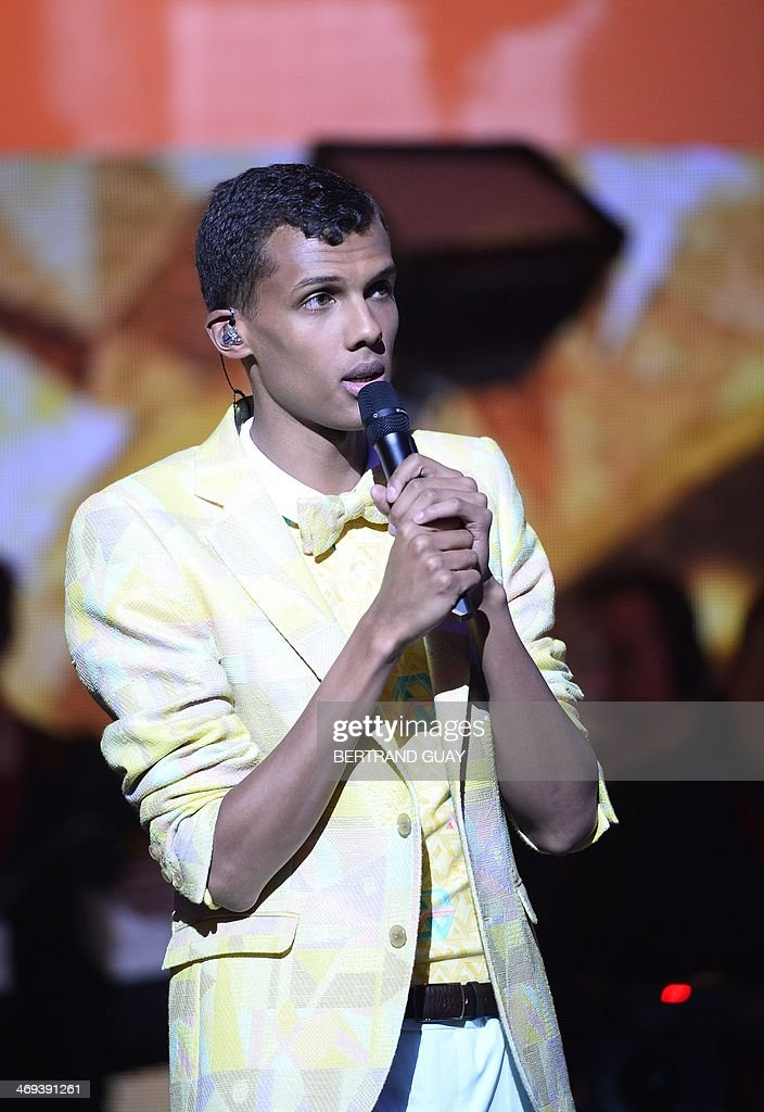 Belgian singer Paul Van Haver, aka Stromae, speaks during the 29th Victoires de la Musique, the annual French music awards ceremony, on February 14, 2014 at the Zenith concert hall in Paris.