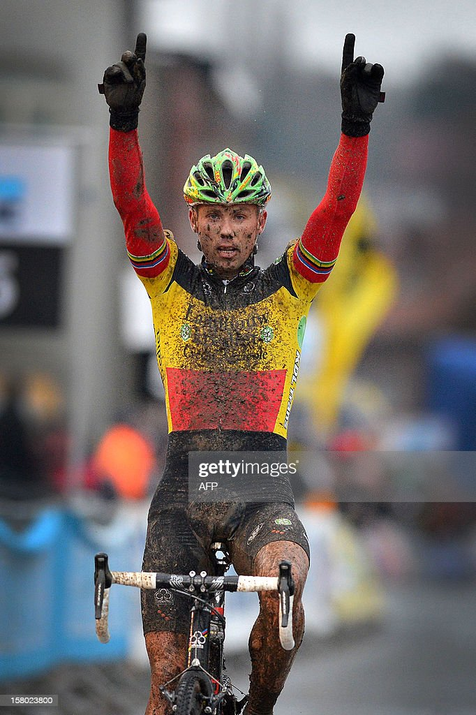 Belgian Sven Nys celebrates as he crosses the finish line at the Vlaamse Druivencross cyclocross race on December 9, 2012 in Overijse.