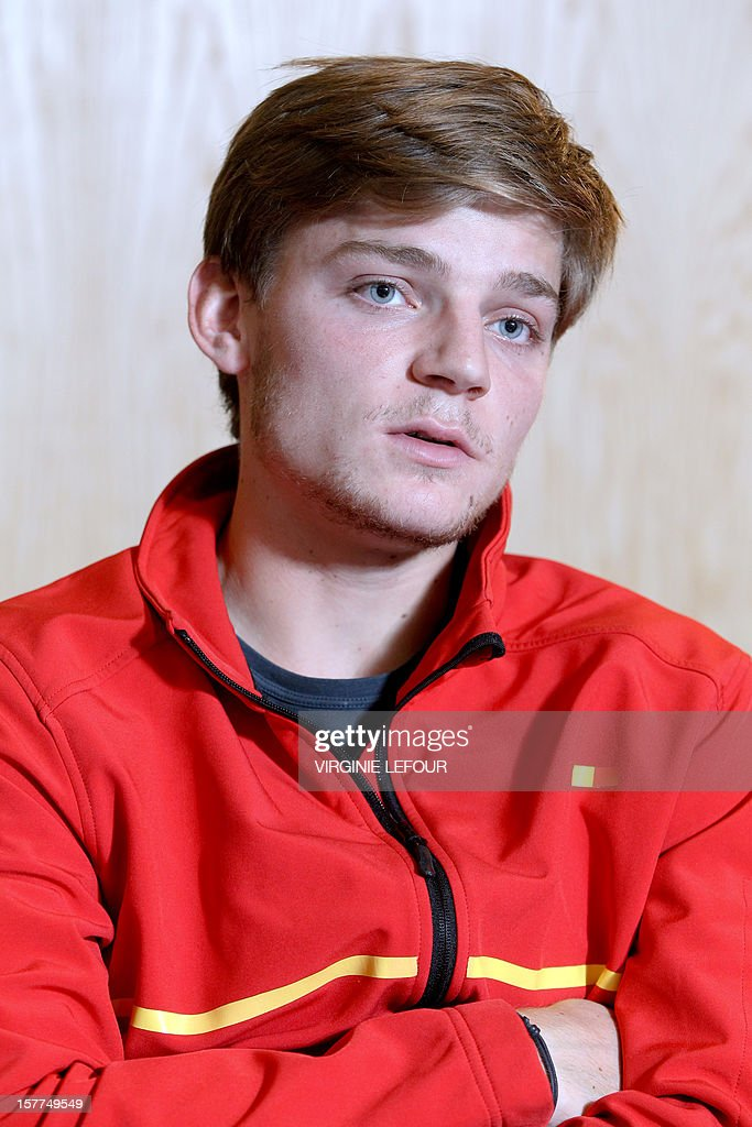Belgian tennis player David Goffin talks on December 6, 2012 during a press conference in Charleroi ahead of the Davis Cup tennis matches between Belgium and Serbia.