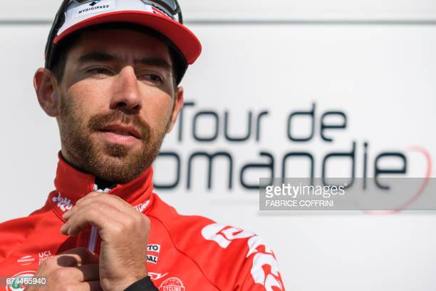 Belgian Thomas De Gendt of team LottoSoudal stands during the podium ceremony of the third stage of Tour de Romandie UCI protour cycling race a 187km...