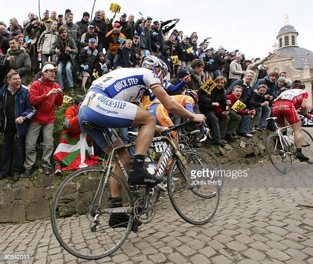 Belgian Tom Boonen of Qiuck Step ascends the 'muur van Geraardsbergen' during the 92nd Tour of Flanders cycling race between Bruges and Meerbeke on...