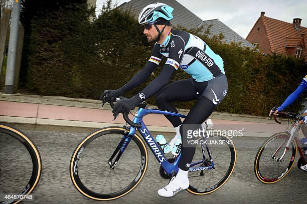 Belgian Tom Boonen of team EttixQuickStep competes during the 67th edition of the KuurneBrusselsKuurne one day cycling race 196 km from Kuurne to...