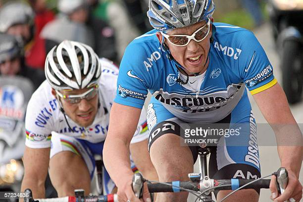 Belgian Tom Boonen rides behind compatriot leif Hoste during the 90th Tour of Flanders cycling race between Brugge and Ninove 02 April 2006 Belgian...