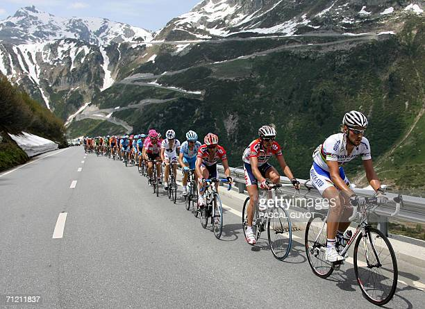 Belgian Tom Boonen rides with the pack during the 6th stage of the 70th Tour de Suisse cycling race between Fiesch and La Punt 15 June 2006 AFP PHOTO...