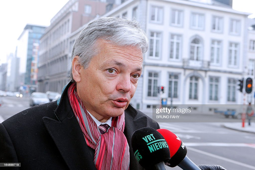 Belgian Vice-Prime Minister and Foreign Minister Didier Reynders (MR French-speaking liberals) talks to the press ahead of a ministers council meeting, at 16 Law street (Rue de la Loi - Wetstraat) in Brussels, on March 29, 2013. AFP PHOTO/BELGA/BRUNO FAHY -Belgium Out-