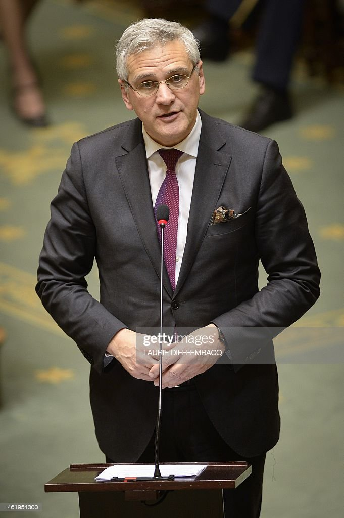 Belgian Vice-Prime Minister and Minister of Employment, Economy and Consumer Affairs <a gi-track='captionPersonalityLinkClicked' href=/galleries/search?phrase=Kris+Peeters&family=editorial&specificpeople=2203934 ng-click='$event.stopPropagation()'>Kris Peeters</a> (CD&V) speaks during a plenary session of the Chamber at the federal parliament, in Brussels, on January 22, 2015. AFP PHOTO / BELGA PHOTO / LAURIE DIEFFEMBACQ