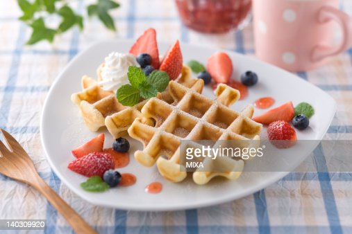Belgian Waffle and Fruits